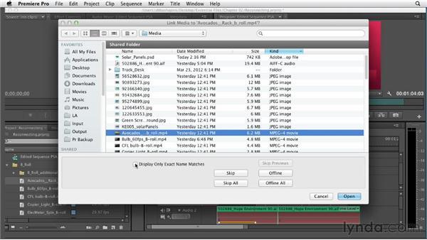 Relinking offline media: Premiere Pro CS6 Essential Training
