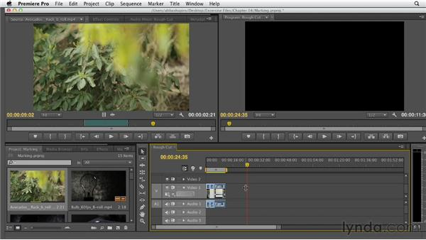 Marking and targeting destinations in the Timeline: Premiere Pro CS6 Essential Training