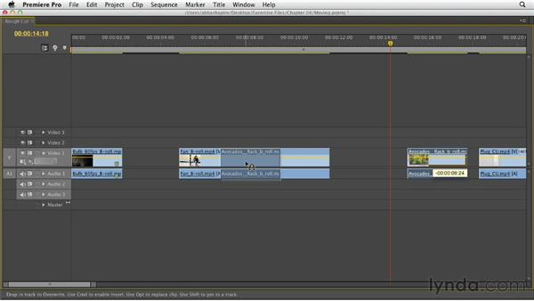 Moving clips in the Timeline and performing a swap edit: Premiere Pro CS6 Essential Training