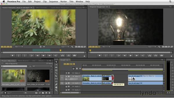 Adjusting edit points in the Timeline: Premiere Pro CS6 Essential Training