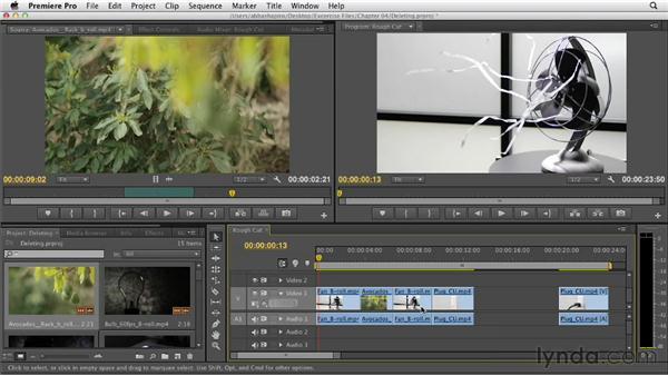 Deleting clips: Premiere Pro CS6 Essential Training