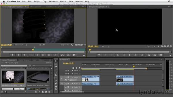 Performing a three-point edit: Premiere Pro CS6 Essential Training