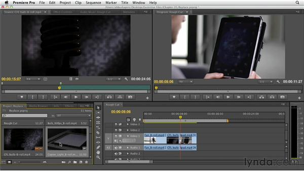 Performing a replace edit: Premiere Pro CS6 Essential Training
