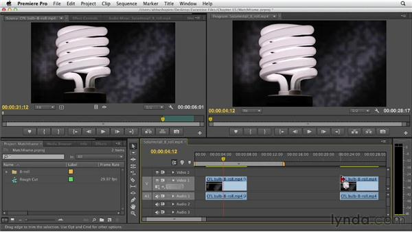 Locating and working with different versions of a clip using Match Frame: Premiere Pro CS6 Essential Training