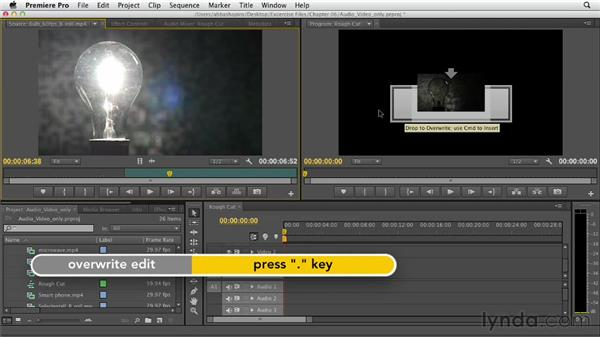Performing audio-only and video-only edits: Premiere Pro CS6 Essential Training