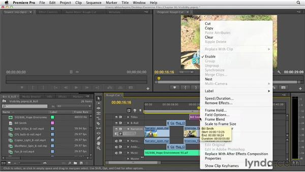 Changing track visibility and locking tracks: Premiere Pro CS6 Essential Training