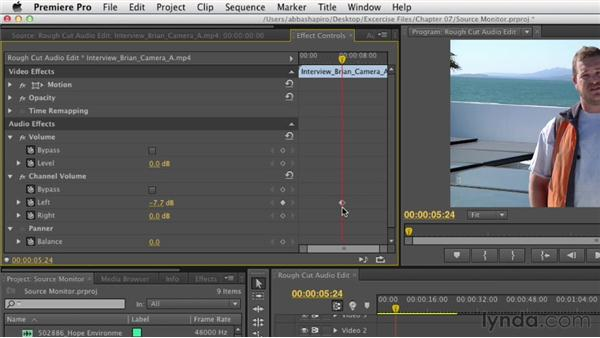 Adjusting audio levels in the Source Monitor: Premiere Pro CS6 Essential Training