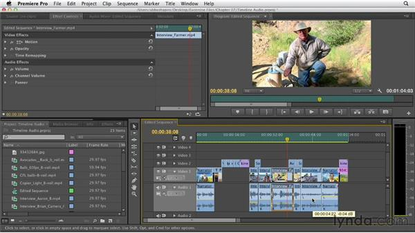 Adjusting audio levels in the Timeline: Premiere Pro CS6 Essential Training