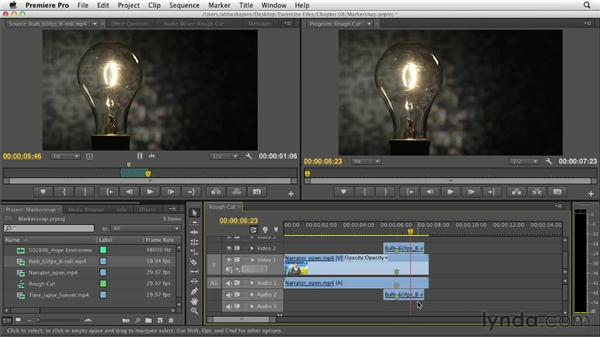 Snapping markers to each other: Premiere Pro CS6 Essential Training