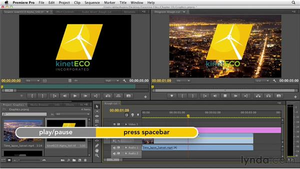 Working with still and animated graphics with transparency: Premiere Pro CS6 Essential Training