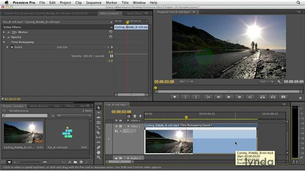 Changing speed at a variable rate: Premiere Pro CS6 Essential Training