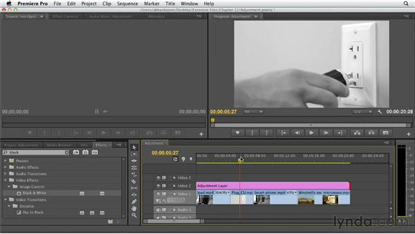Using adjustment layers: Premiere Pro CS6 Essential Training