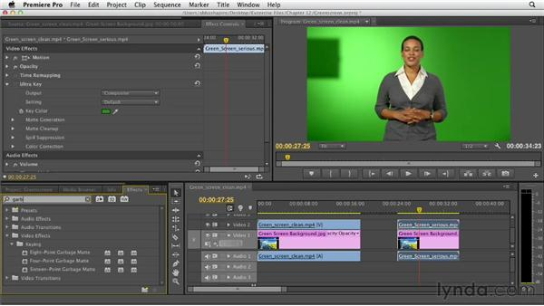 Working with green screen and chroma key footage: Premiere Pro CS6 Essential Training