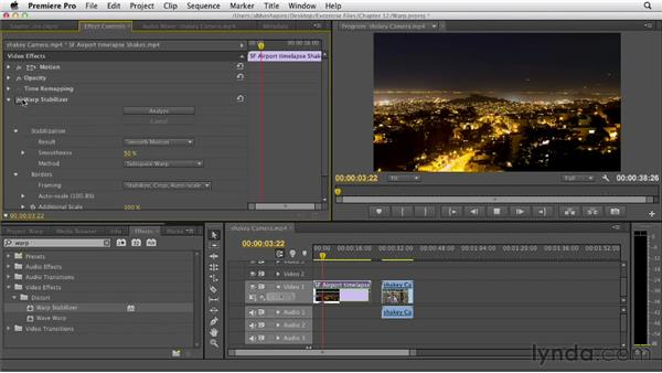 Using the Warp Stabilizer to stabilize clips: Premiere Pro CS6 Essential Training