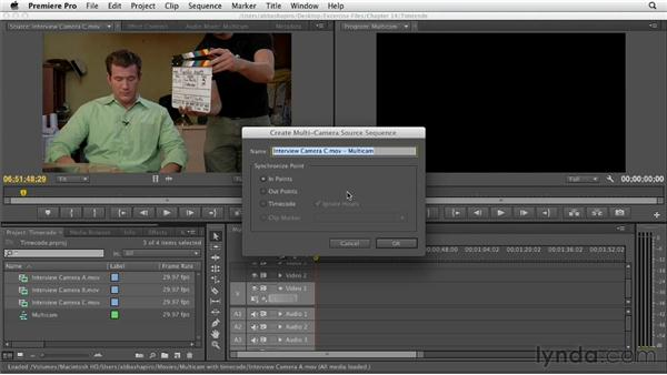Creating a multicam clip with timecode