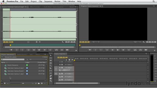 Creating a multicam clip using sync points: Premiere Pro CS6 Essential Training