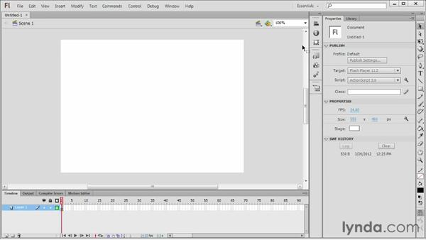 Flash for desktop web browsers: Flash Professional CS6 Essential Training