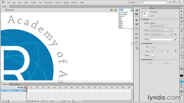 Zooming and moving around: Flash Professional CS6 Essential Training