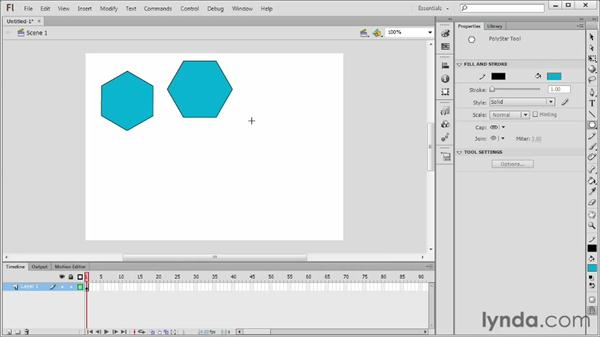 Creating shapes with the PolyStar tool: Flash Professional CS6 Essential Training