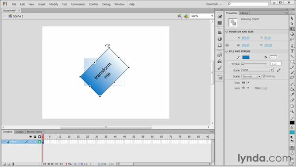 Manipulating items with the Free Transform tool: Flash Professional CS6 Essential Training