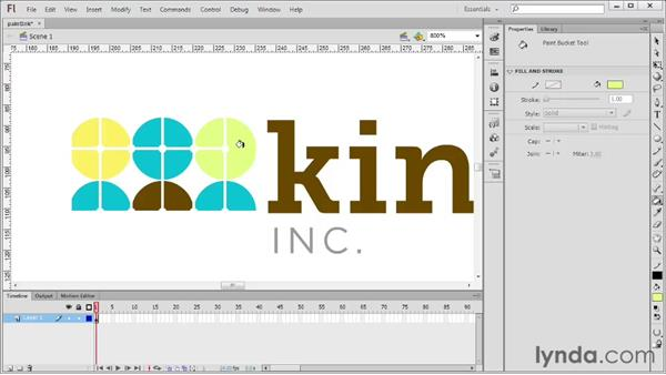Using the Paint Bucket and Ink Bottle tools: Flash Professional CS6 Essential Training