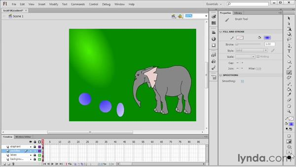 Using the Lock Fill modifier with gradients: Flash Professional CS6 Essential Training