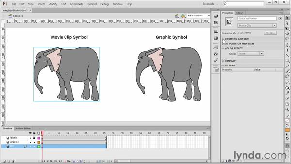 Using graphics vs. movie clips for animation: Flash Professional CS6 Essential Training
