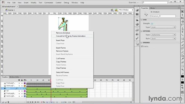 Converting IK to frame-by-frame animation: Flash Professional CS6 Essential Training