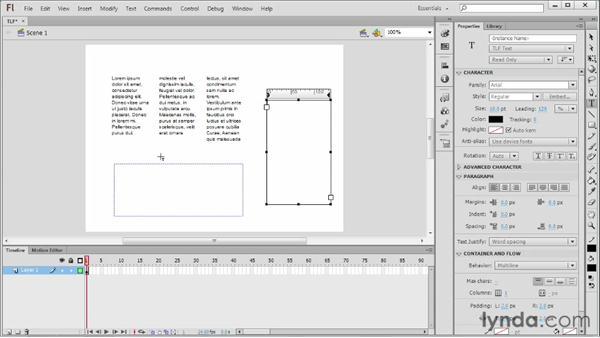Exploring TLF text features: Flash Professional CS6 Essential Training