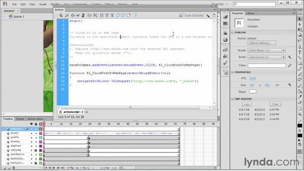 Using code snippets to create clickable items: Flash Professional CS6 Essential Training