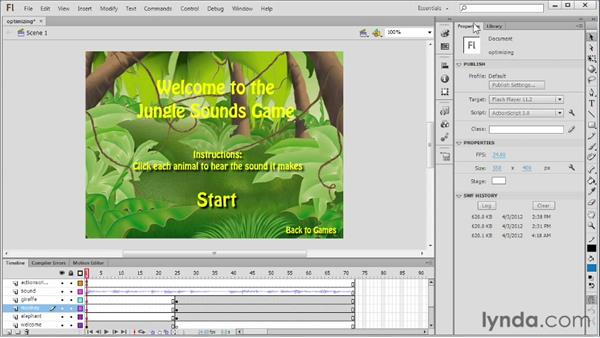 Cleaning up and optimizing a file: Flash Professional CS6 Essential Training