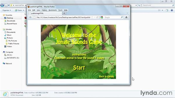 Configuring HTML publish settings: Flash Professional CS6 Essential Training