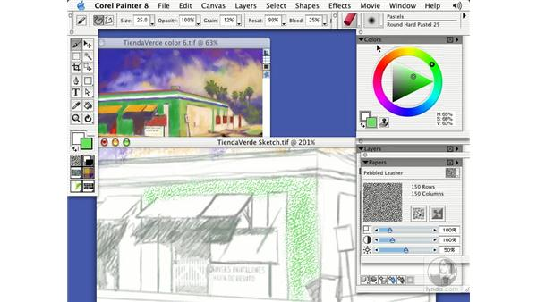 texture-sensitive chalks: Getting Started with Corel Painter 8