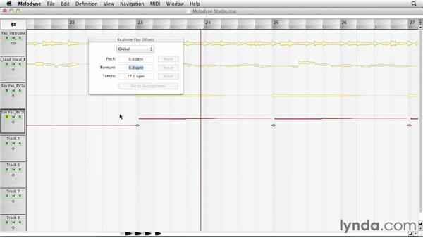 Changing pitches and formants with realtime play offsets: Melodyne Studio Essential Training