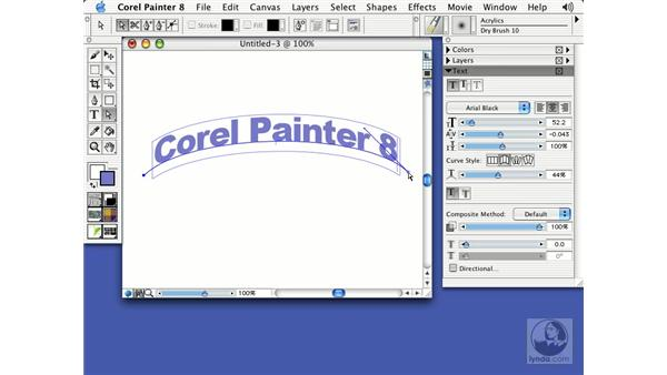 using the text tool: Getting Started with Corel Painter 8