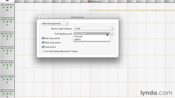 Specifiying the defaults for new projects using New Arrangements: Melodyne Studio Essential Training