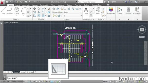 Plotting from model space: AutoCAD 2013 Essentials: 01 Interface and Drawing Management