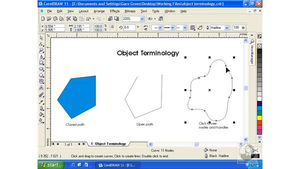 object terminology: Getting Started with CorelDRAW 11