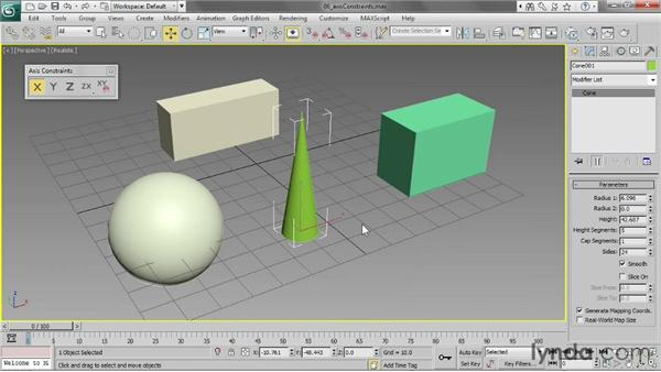 Using axis constraints: 3ds Max 2013 Essential Training