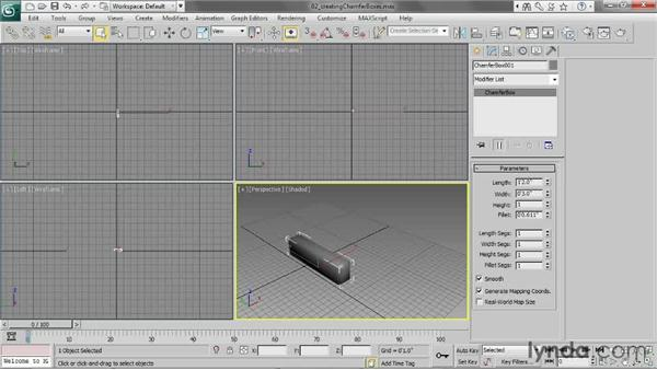Creating chamfer boxes: 3ds Max 2013 Essential Training