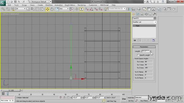 Measuring with the tape helper: 3ds Max 2013 Essential Training
