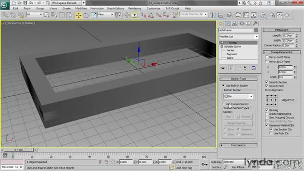 Applying a Sweep modifier: 3ds Max 2013 Essential Training