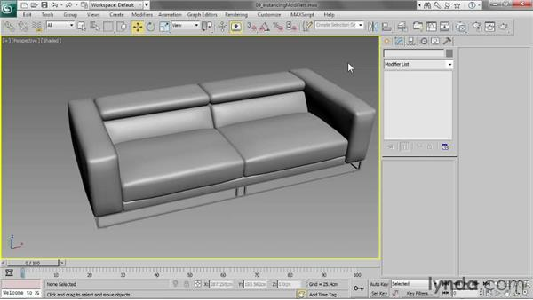 Instancing modifiers on multiple objects: 3ds Max 2013 Essential Training
