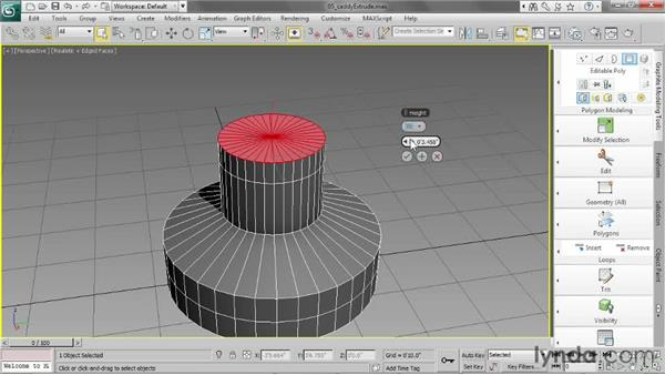 Using the caddy to extrude: 3ds Max 2013 Essential Training