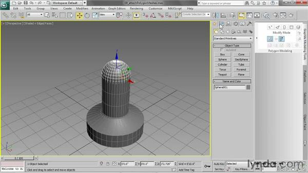 Attaching polygon meshes to a single object: 3ds Max 2013 Essential Training