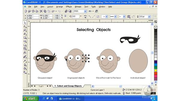 selecting objects: Getting Started with CorelDRAW 11