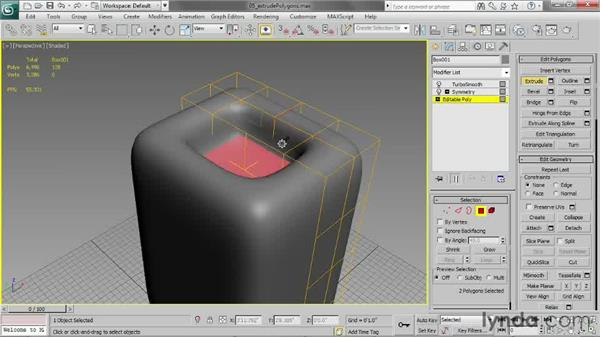 Extruding polygons: 3ds Max 2013 Essential Training