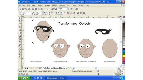 transforming objects: Getting Started with CorelDRAW 11