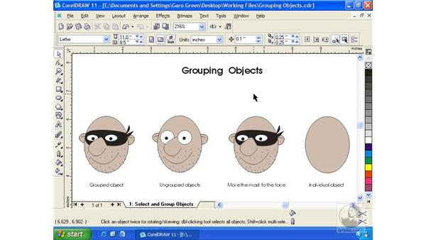 grouping objects: Getting Started with CorelDRAW 11