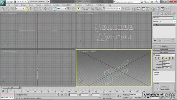 Creating text: 3ds Max 2013 Essential Training